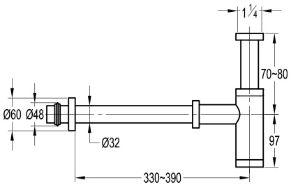 TECHNICAL DRAWING schema siphon cuivre