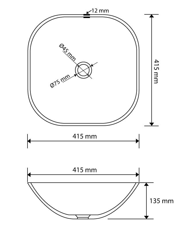 TECHNICAL DRAWING vasque verre carrée