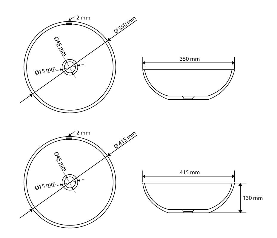 TECHNICAL DRAWING vasque verre ronde