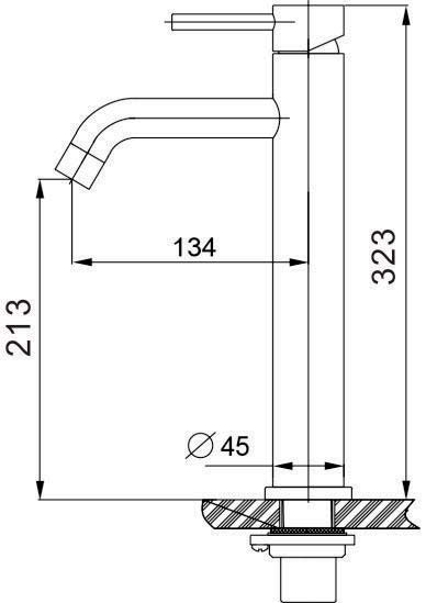 TECHNICAL DRAWING schema lavabo steel surelevé
