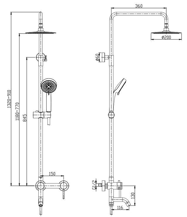 TECHNICAL DRAWING schema colonne Steel