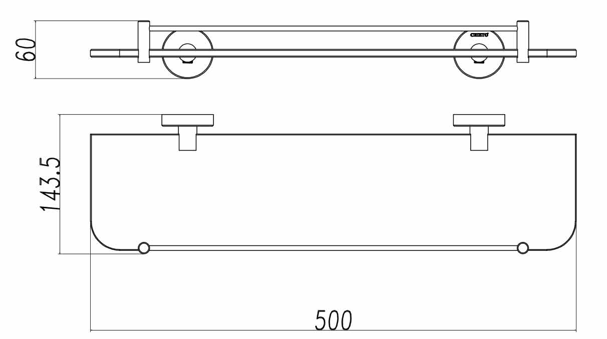 TECHNICAL DRAWING tablette steel
