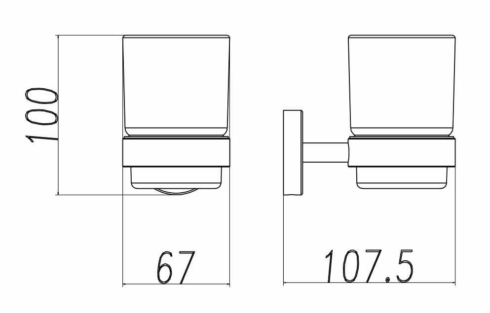 TECHNICAL DRAWING Porte verre Steel