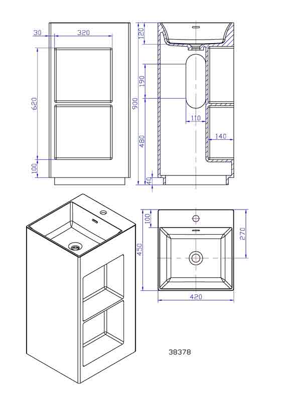 TECHNICAL DRAWING schema lavabo thin