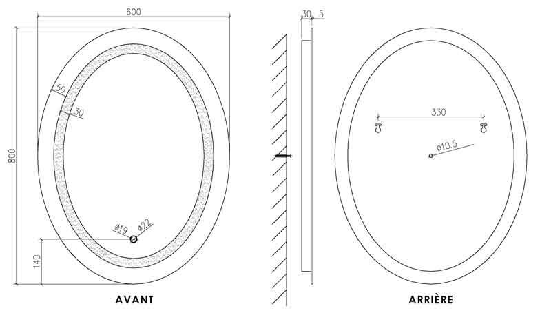 TECHNICAL DRAWING schema miroir Oval
