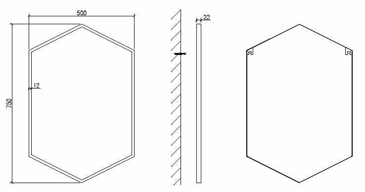 TECHNICAL DRAWING schema miroir hexa