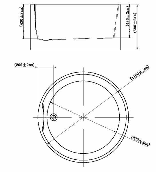 TECHNICAL DRAWING schema baignoire ronde Orta