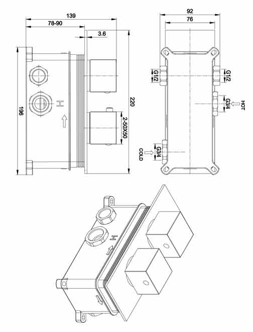 TECHNICAL DRAWING mitigeur qube2