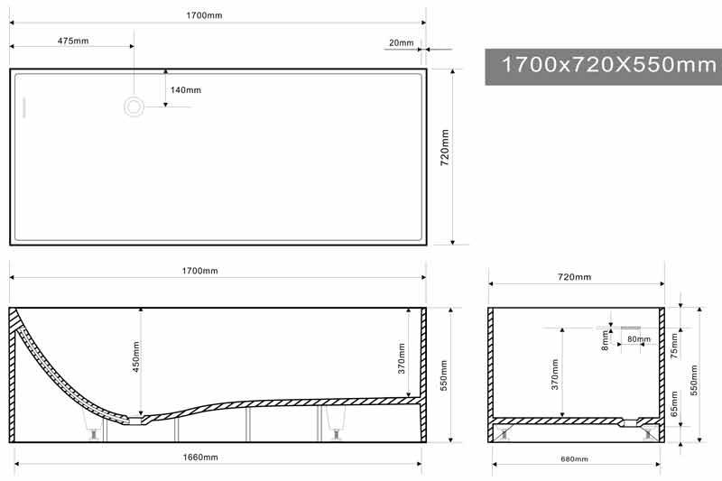 TECHNICAL DRAWING schema-baignoire-mineral-170