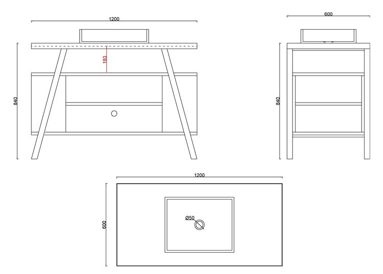 TECHNICAL DRAWING schema-meuble atelier 120