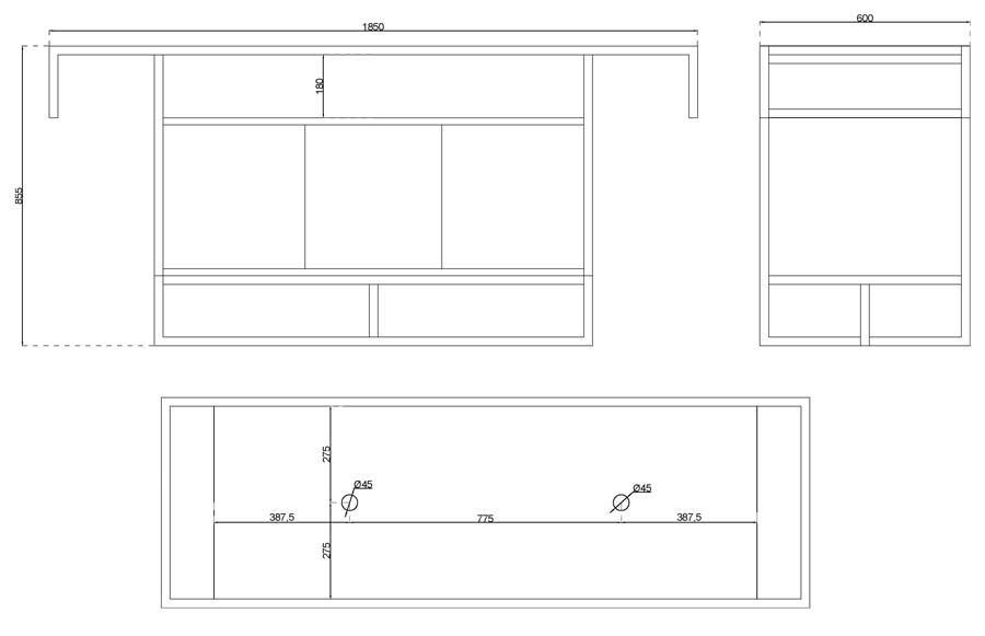 TECHNICAL DRAWING schema-meuble atelier 185