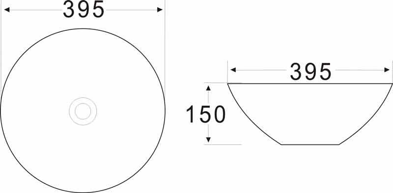 TECHNICAL DRAWING schema vasque art ronde