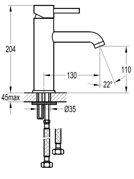 TECHNICAL DRAWING tech-lavabo-moyen-century