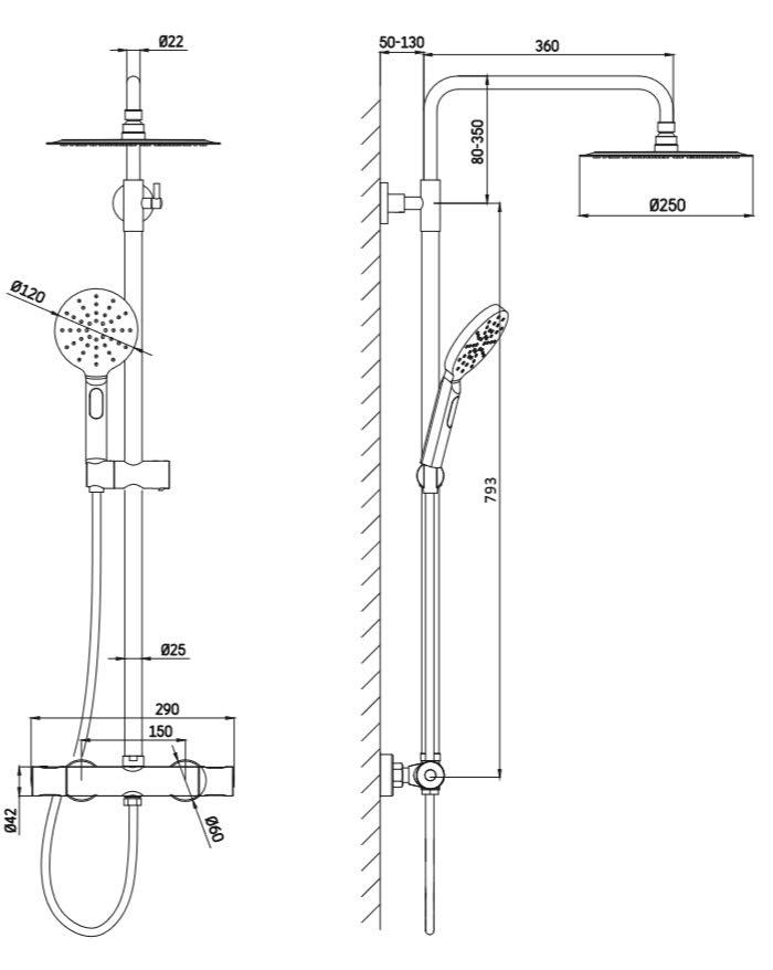 TECHNICAL DRAWING schema colonne douche ILL
