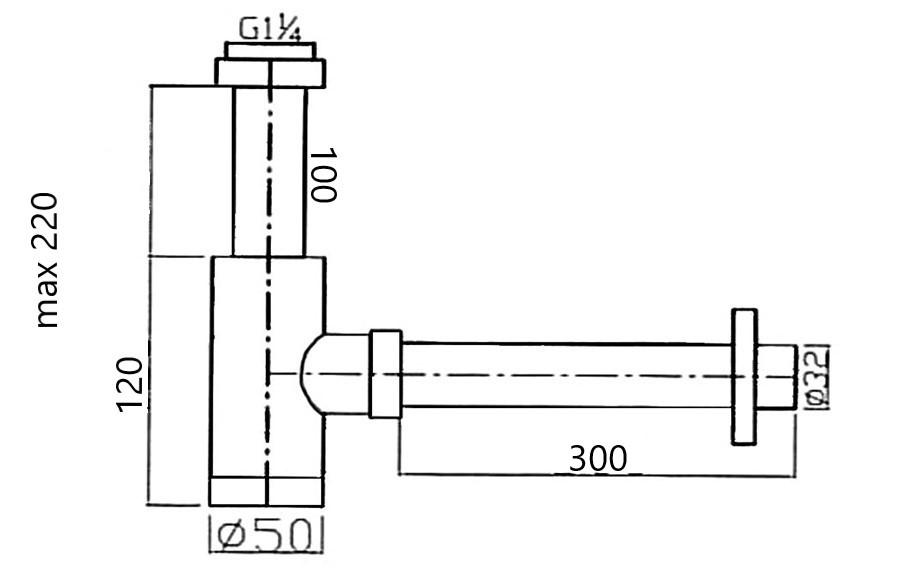 TECHNICAL DRAWING schema siphon noir