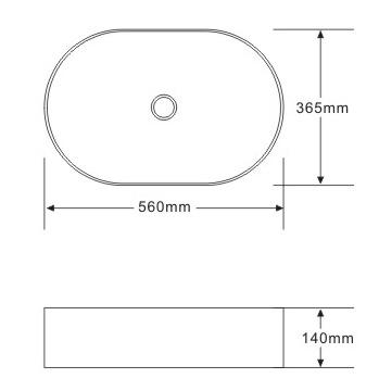 TECHNICAL DRAWING schema vasque Art 56x36,5