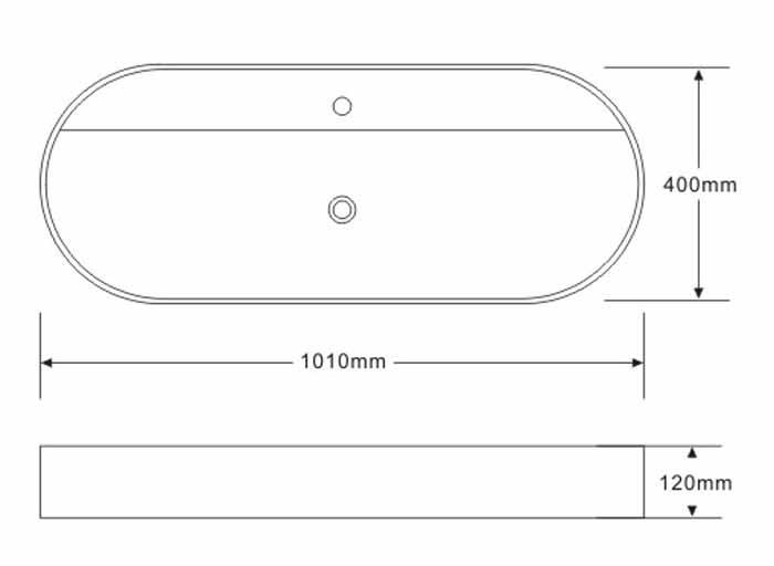 TECHNICAL DRAWING schéma vasque Art 101x40cm