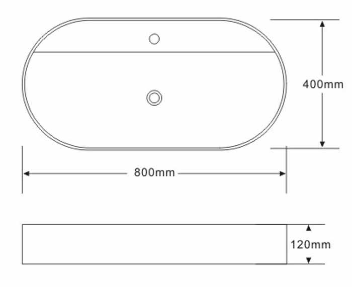 TECHNICAL DRAWING schéma vasque 80x40 art