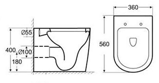 TECHNICAL DRAWING schéma technique WC indépendant