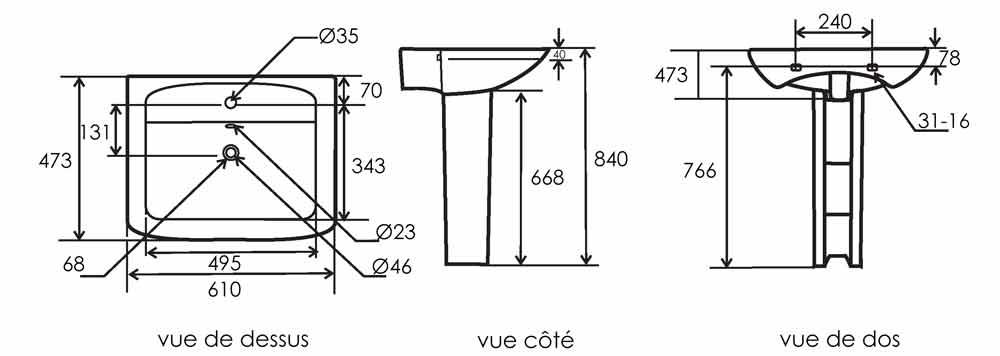 TECHNICAL DRAWING schema lavabo colonne pure
