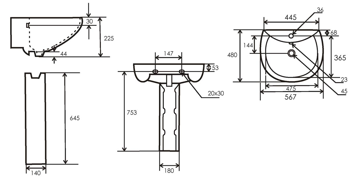TECHNICAL DRAWING schema lavabo colonne pure rond