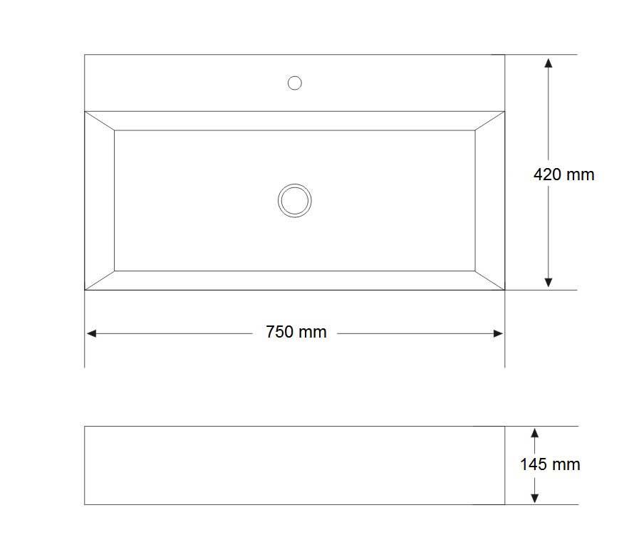 TECHNICAL DRAWING vasque art 75cm
