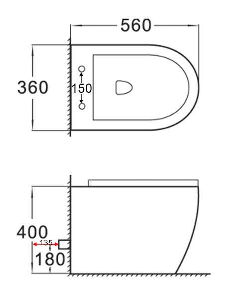 TECHNICAL DRAWING schema wc posé stelvio