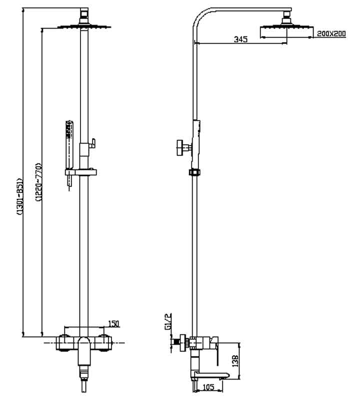 TECHNICAL DRAWING schema colonne quadra steel