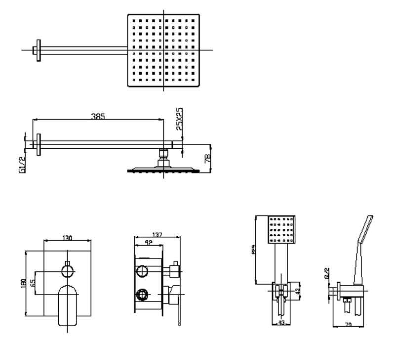 TECHNICAL DRAWING schema bain-douche Quadra Steel