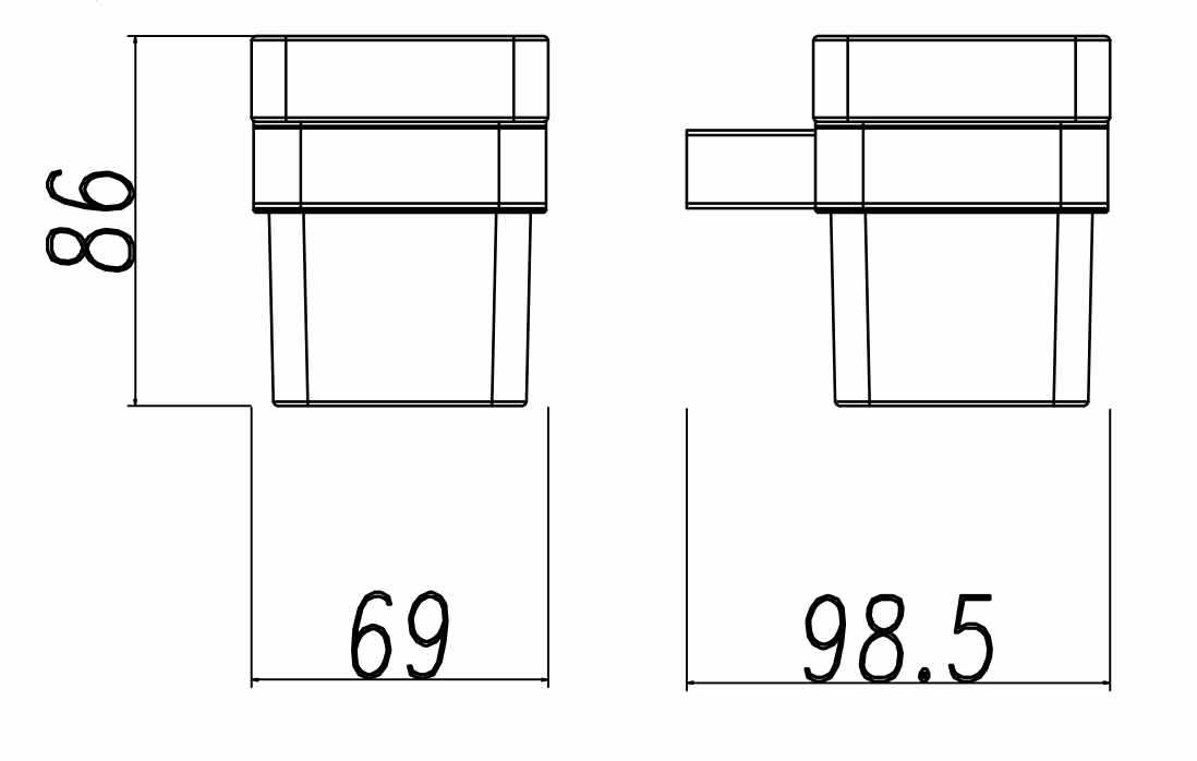 TECHNICAL DRAWING porte verre quadra steel