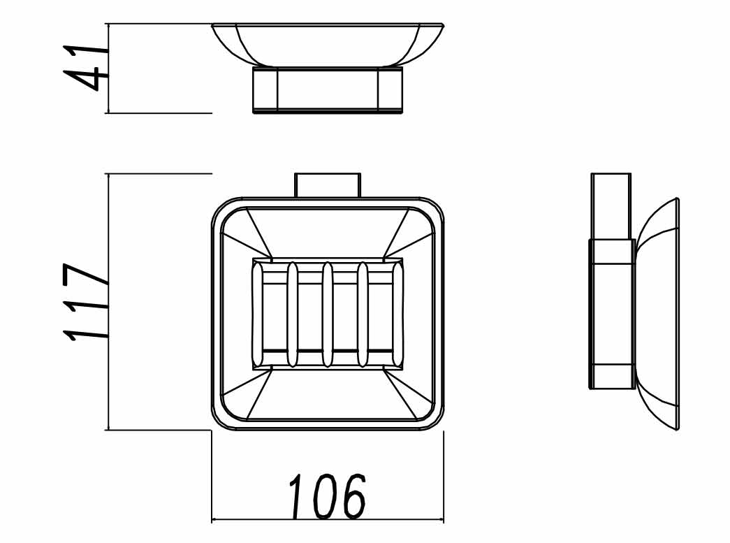 TECHNICAL DRAWING porte savon verre