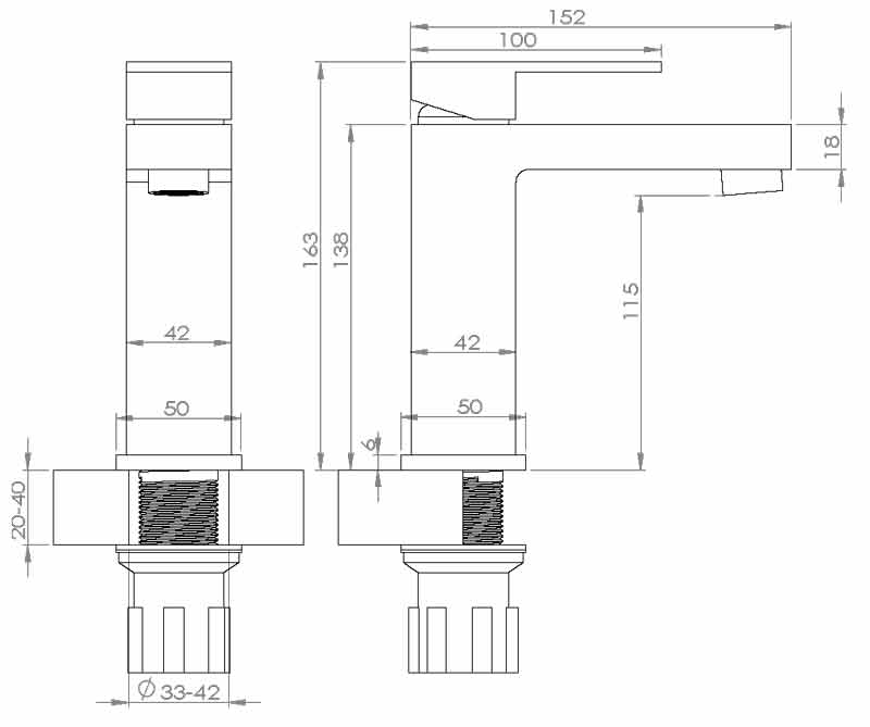 TECHNICAL DRAWING schema robinet lavabo Qubik