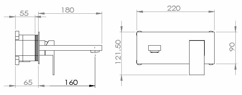 TECHNICAL DRAWING schema robinet lavabo mural Qubi