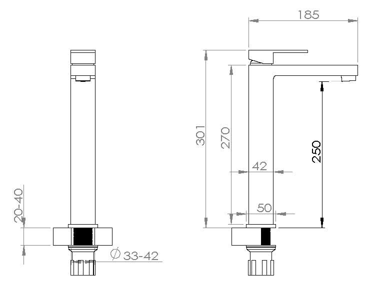 TECHNICAL DRAWING schema robinet surélevé Qubik