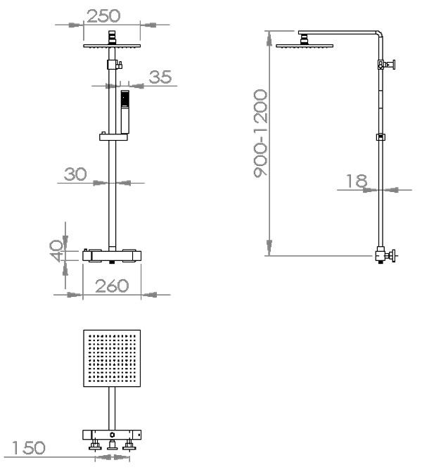 TECHNICAL DRAWING schema colonne douche Qubik