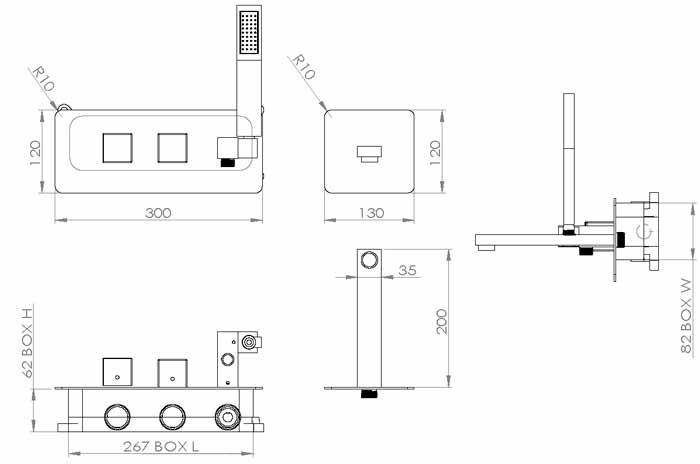 TECHNICAL DRAWING schema mitigeur bain-douche Qubi