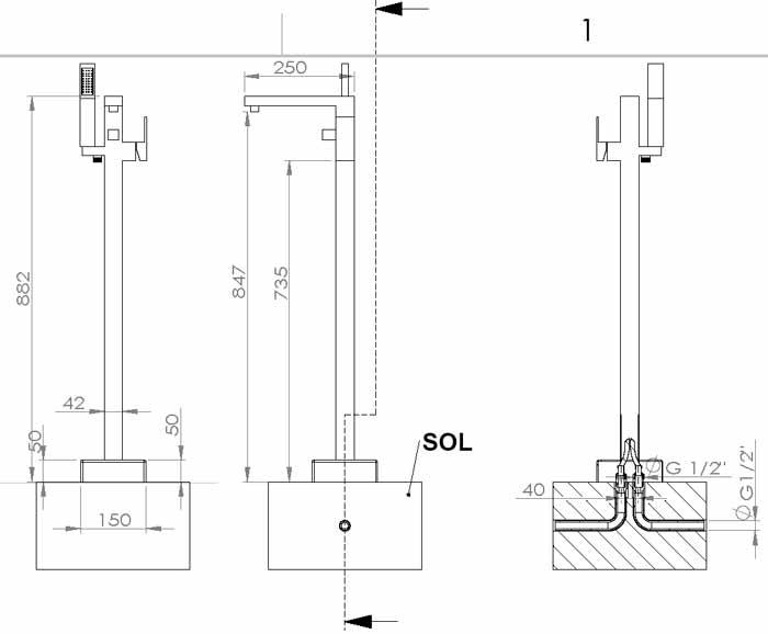 TECHNICAL DRAWING schema robinet baignoire sol Qub