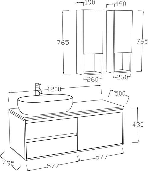 TECHNICAL DRAWING schema ensemble meuble vasque Ma