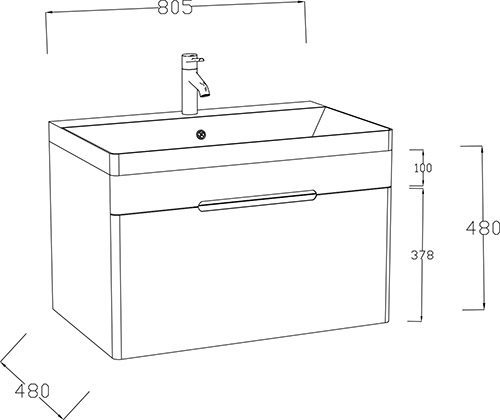 TECHNICAL DRAWING schema meuble-vasque 1 tiroir ez