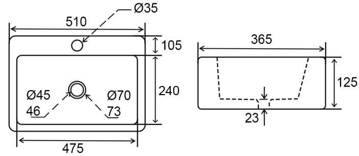 TECHNICAL DRAWING schema vasque pure 51
