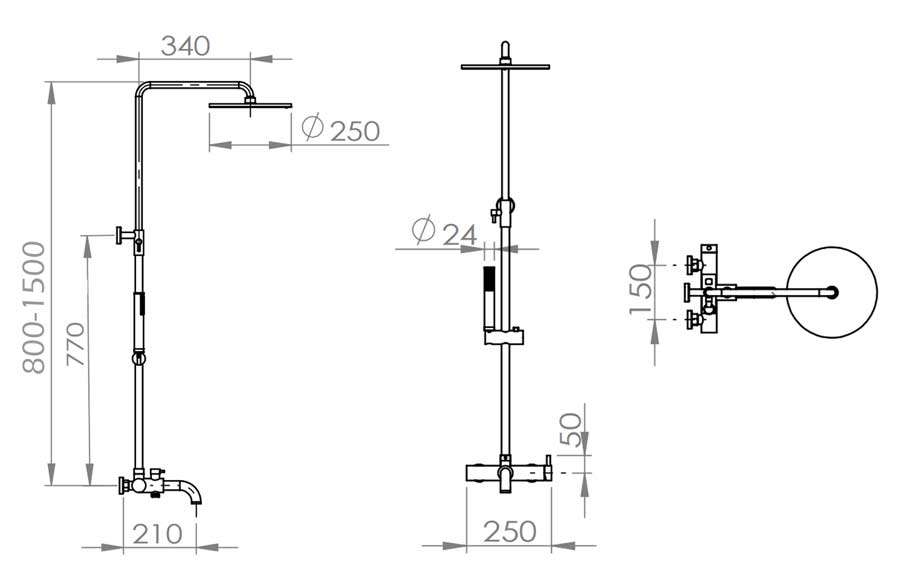 TECHNICAL DRAWING colonne bain douche jack 80-150