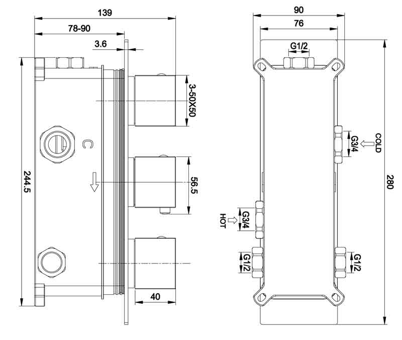 TECHNICAL DRAWING schéma thermo Qube2 3 sortie