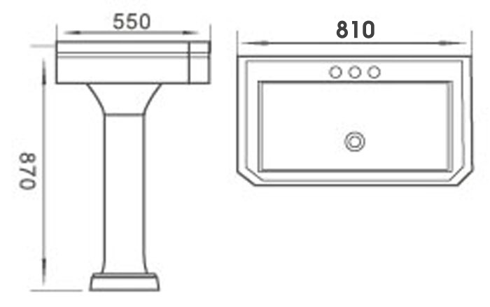 TECHNICAL DRAWING schema lavabo Marilyn