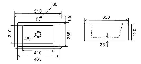 TECHNICAL DRAWING schema vasque Pure
