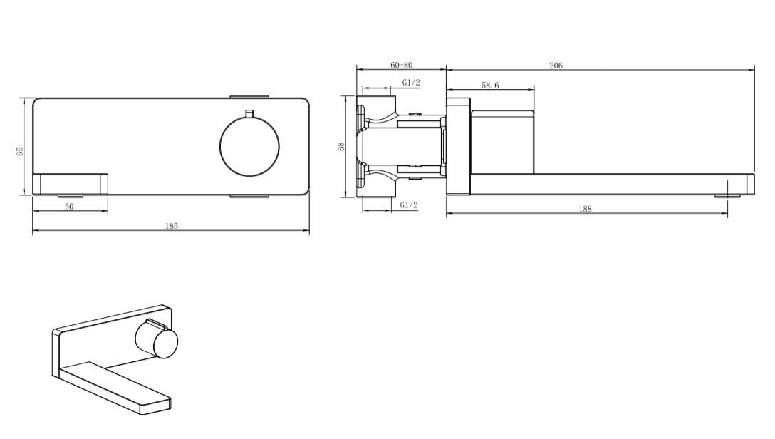 TECHNICAL DRAWING schema-robinet-lavabo-mural