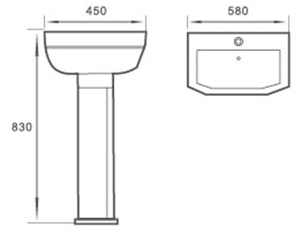 TECHNICAL DRAWING schema lavabo-2066