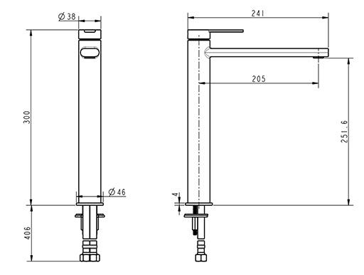 TECHNICAL DRAWING schema louvre lavabo haut