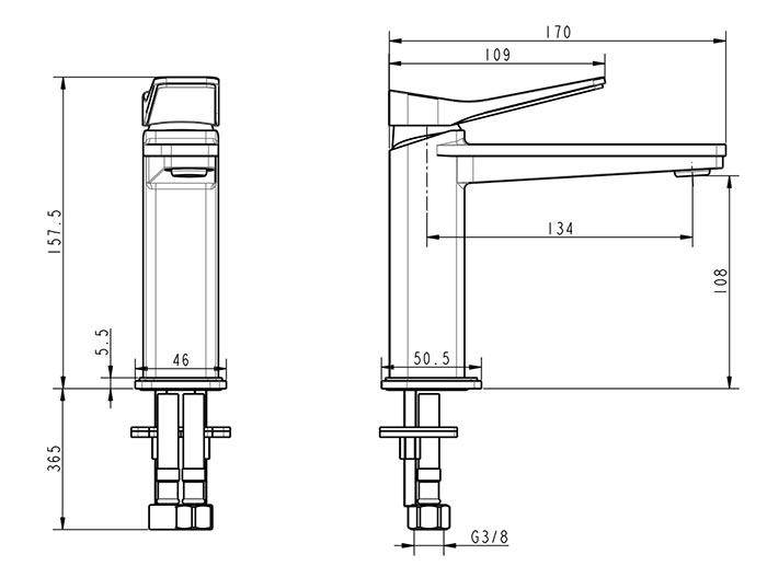 TECHNICAL DRAWING hix lavabo schema