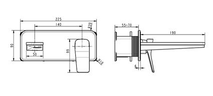 TECHNICAL DRAWING a-schéma hix encastre lavabo