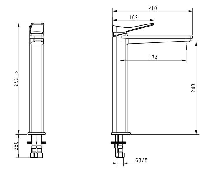 TECHNICAL DRAWING schéma hix lavabo haut